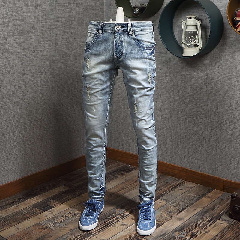 Italian Style Fashion Men Jeans Light Blue Destroyed Patchwork Ripped Jeans Men Elastic Denim Pants Slim Fit Hip Hop Jeans Homme