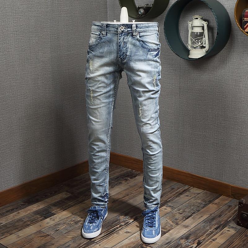 Italian Style Fashion Men Jeans Light Blue Destroyed Patchwork Ripped Jeans Men Elastic Denim Pants Slim Fit Hip Hop Jeans Homme