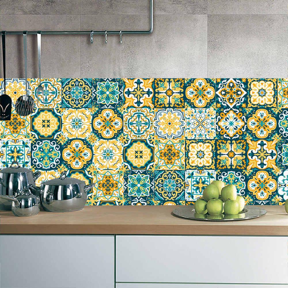 الرجعية الباروك نمط بلاط ملصقات المنزل ديكور غرفة المعيشة الحمام جداريات حائطية الشارات DIY PVC للماء ذاتية اللصق خلفيات