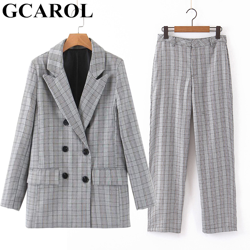 GCAROL Women 2 Pieces Sets Double Breasted Checked Suit And Trousers OL Elegant Oversize Plaid Blazer Mid Waist Full Pants 2019