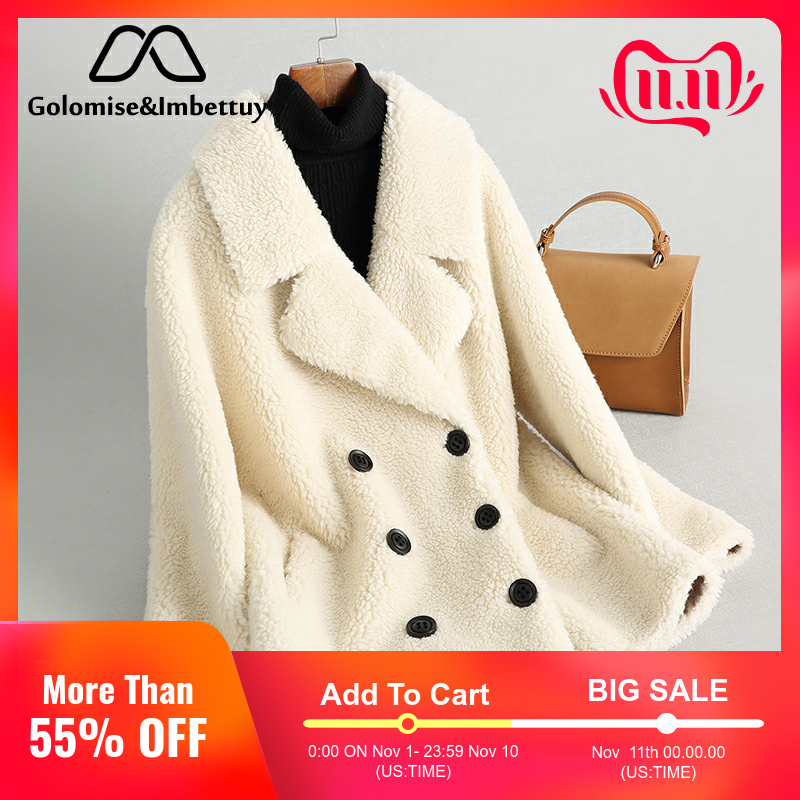 Golomise&Imbettuy Real Composite Shearling Lamb Fur Coat Women Genuine Wool Fur Coat/Jacket with Faux Suede Leather Liner
