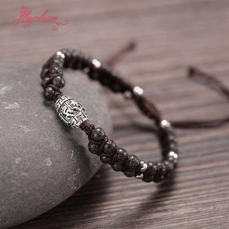 Encanto de cuentas de piedra Natural Wrap pulseras de cuerda trenzada pulseras Yoga Reiki brazalete con símbolo de amistad Bohemia pulsera de enamorado
