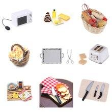 1: 12 1:6 миниатюрные весы для кукольного дома микроволновая печь еда Хлеб кулинарная доска нож разделочный блок ролевые игры кухня игрушка