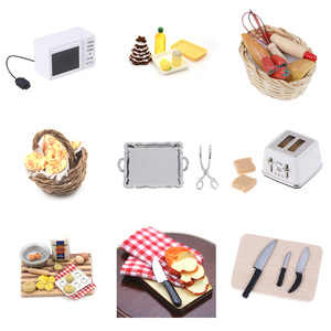 1: 12 1:6 Scale Miniature For Doll House Microwave Food Bread Cooking Board Knife Chopping Block Pretend Play Kitchen Toy(China)