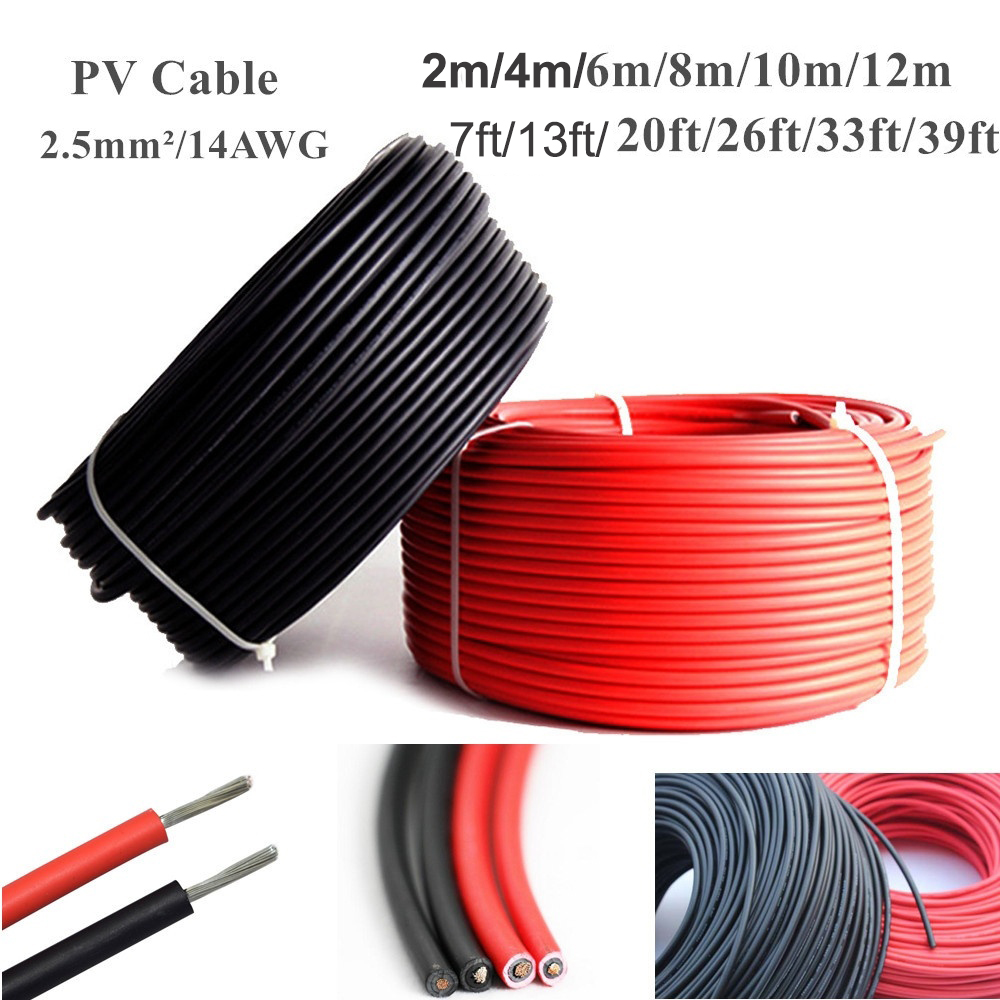 2m/4m/6m/8m/10m/12m 7ft/20ft/26ft/33ft/39ft 2.5mm²/14AWG Solar Connector Cable Wire For Solar Panel Module TUV Approval Power PV