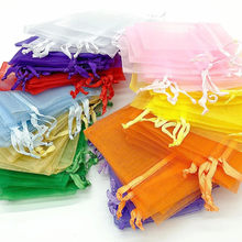 50/100ps Organza Bag 7*9/9*12/10*15cm Wedding Candy Organza Gift Bags Jewelry Packaging Display Gift Bags Cadeau Zakjes Pouches
