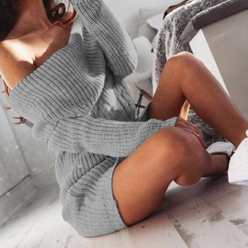 Laamei Women Sweater Dress Sexy Off Shoulder Midi Dress Autumn Winter Long Sleeve Knitted Sweater Bodycon Dress Female women long sleeve off shoulder slash neck dress slim body con knitted sweater sexy club dress knee length party night dresses