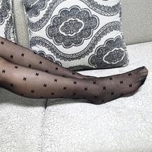 Medias transparentes de seda con letras flocadas para mujer, medias de seda con gancho, color negro de lujo, CC, para fiesta y Club, primavera y otoño