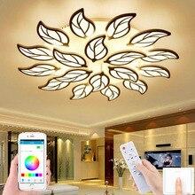 LED ceiling lamp remote control APP control study bedroom ceiling lamp leaf shape LED chandelier living room lamp hotel lighting