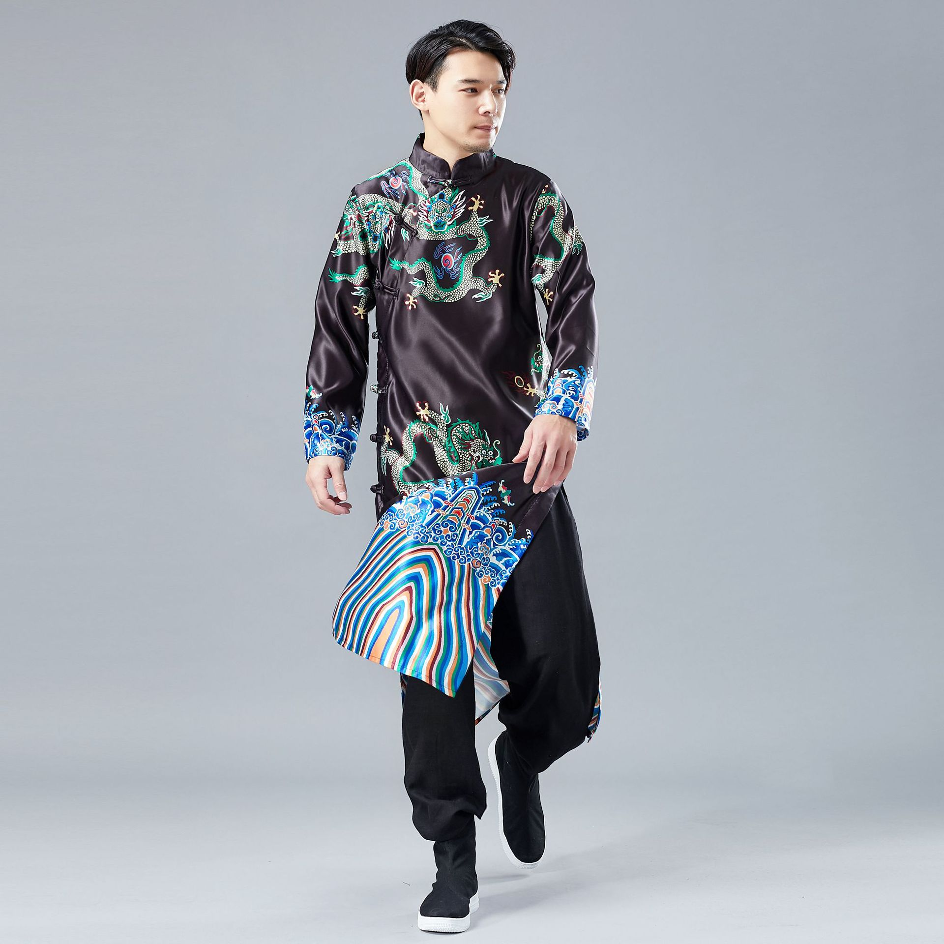 Changshan Traditional Chinese Style Changshan Men's Wear Plate Buckle Cardigan National Costume Emperorlong Fu Official Clothing