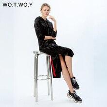 WOTWOY Autumn Floral Embroidery Ribbon Diamond Velvet Women Maxi Dress 2019 Streetwear Thick Female Hoodies Clothes