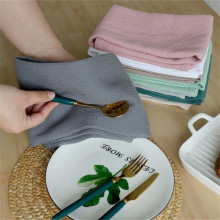 4pcs Per Set Waffle Tea Towels Strong Absorption Cotton Walf Checks Kitchen Tea Towel Kitchen Cleaning Towel 8 Colors 45x65cm