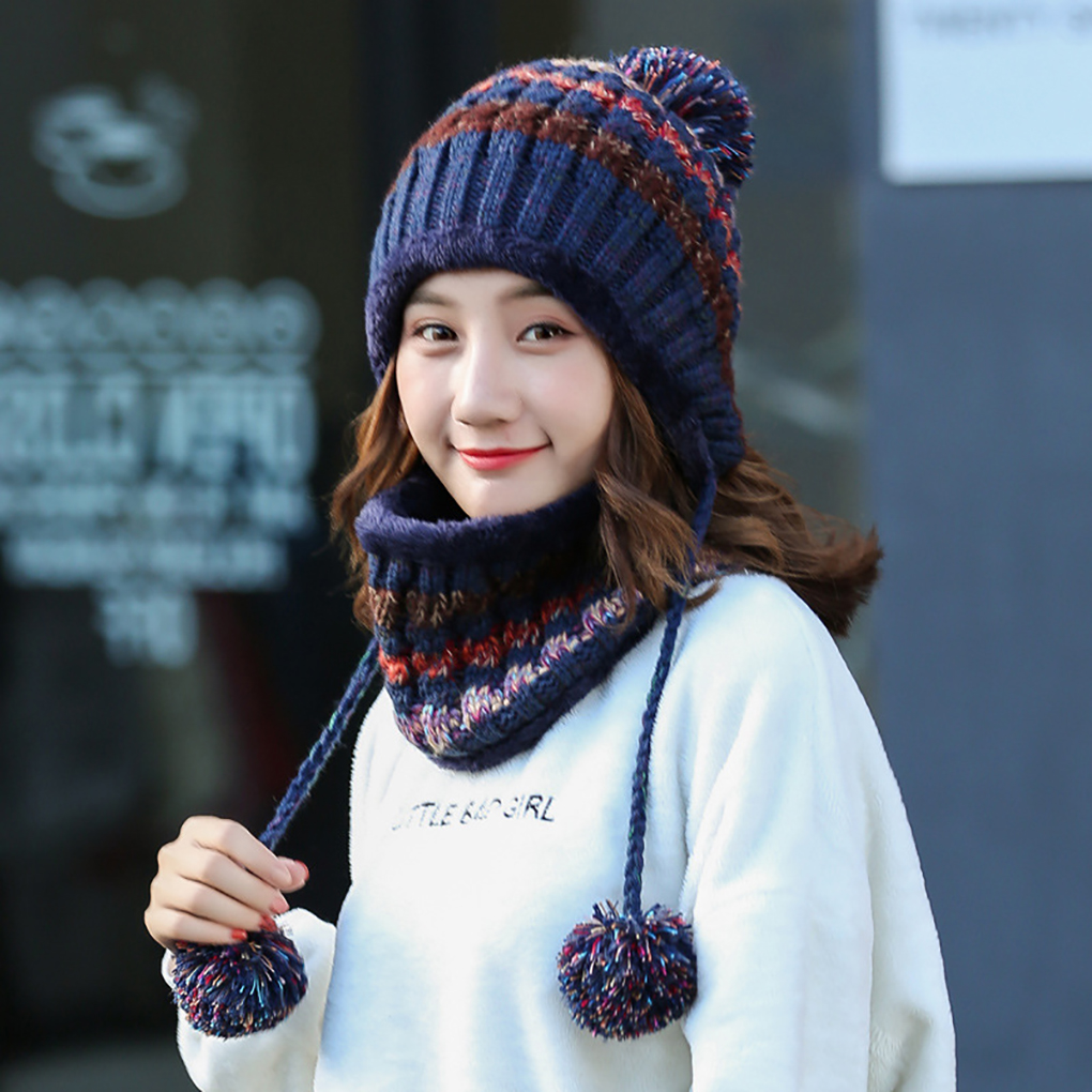 6 Style Winter Women Knitted Hat Scarf 2Pcs Set Fashion Wool Thickening Hat Collars Female Warm Hat Scarf Set Snow Caps
