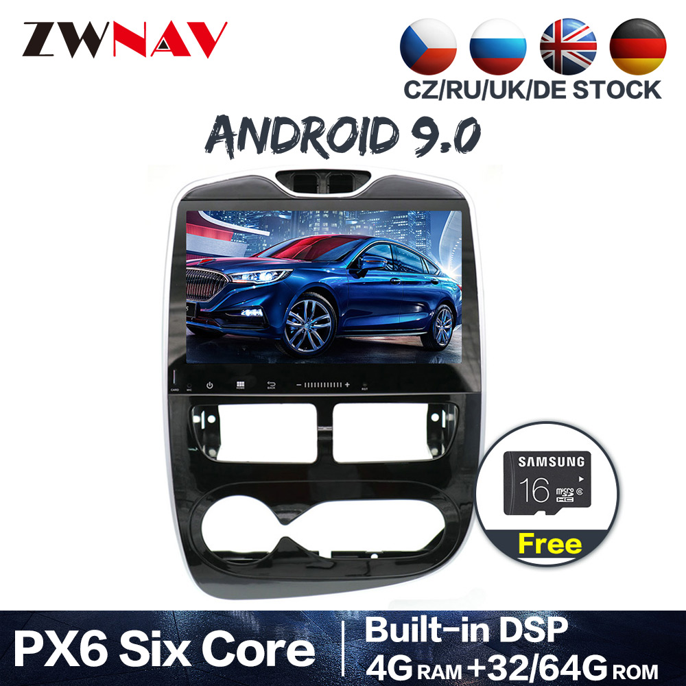 PX6 4 + 64 Android 9.0 Auto Stereo DVD Player GPS Glonass Navigation für Renault Clio 2013-2018 Video Multimedia radio BT kopf einheit image