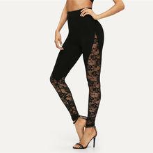 Женские цветочные кружевные штаны с высокой талией, черные леггинсы с вырезами по бокам размера плюс, женская одежда, лоскутные брюки