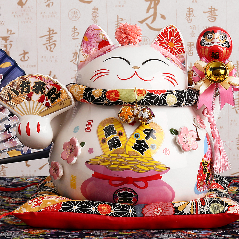 9 pouces en céramique Fortune chat Maneki Neko ornement maison décorative Feng Shui artisanat chanceux chat tirelire