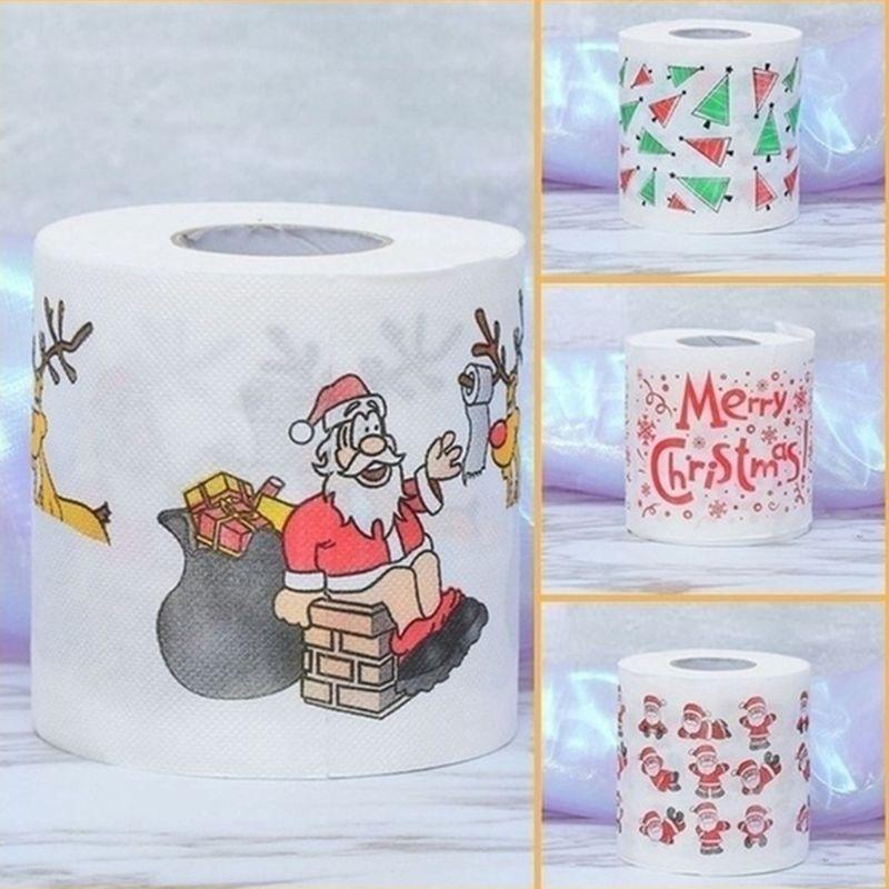 Christmas Pattern Printing Roll Toilet Paper Household  Tissue Bathroom Web 11UF