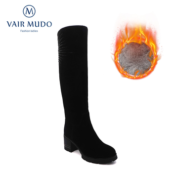 VAIR MUDO Winter Boots Shoes Women Knee-High Shoes Black Casual Ladies Female Round Toe Platform High Heels Warm Snow Boots ZT14 haraval handmade winter woman long boots luxury flock round toe soft heel shoes elegant casual warm retro buckle solid boots 289