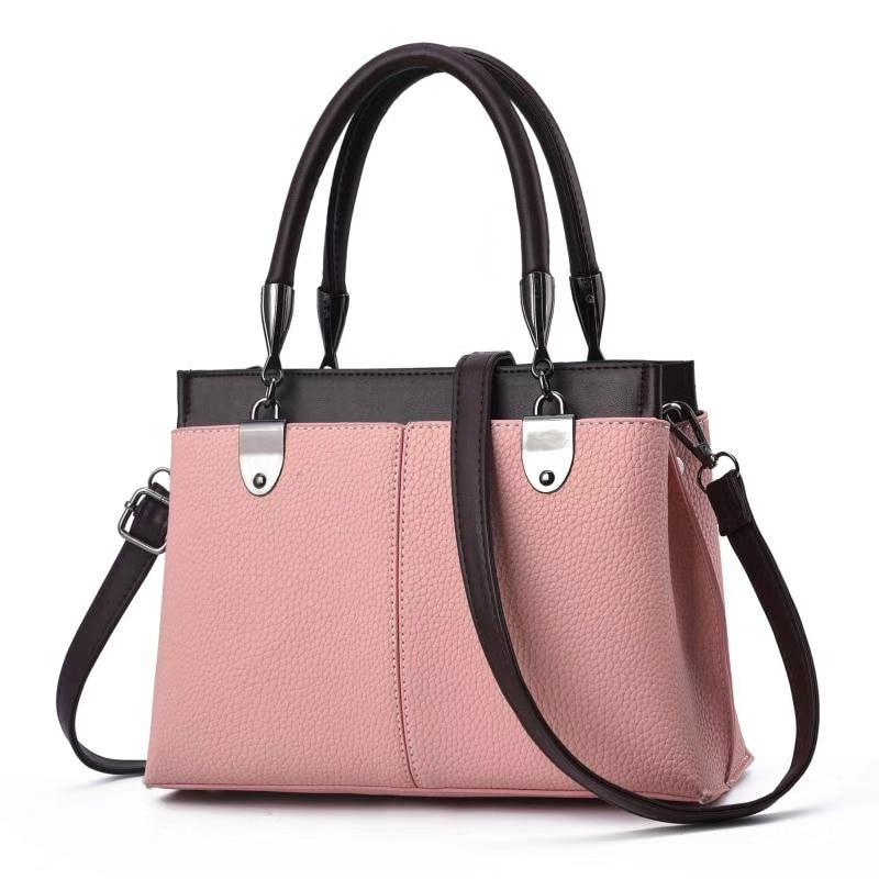 2019 new Korean version of portable pu women's bag simple Joker color matching ladies shoulder bag