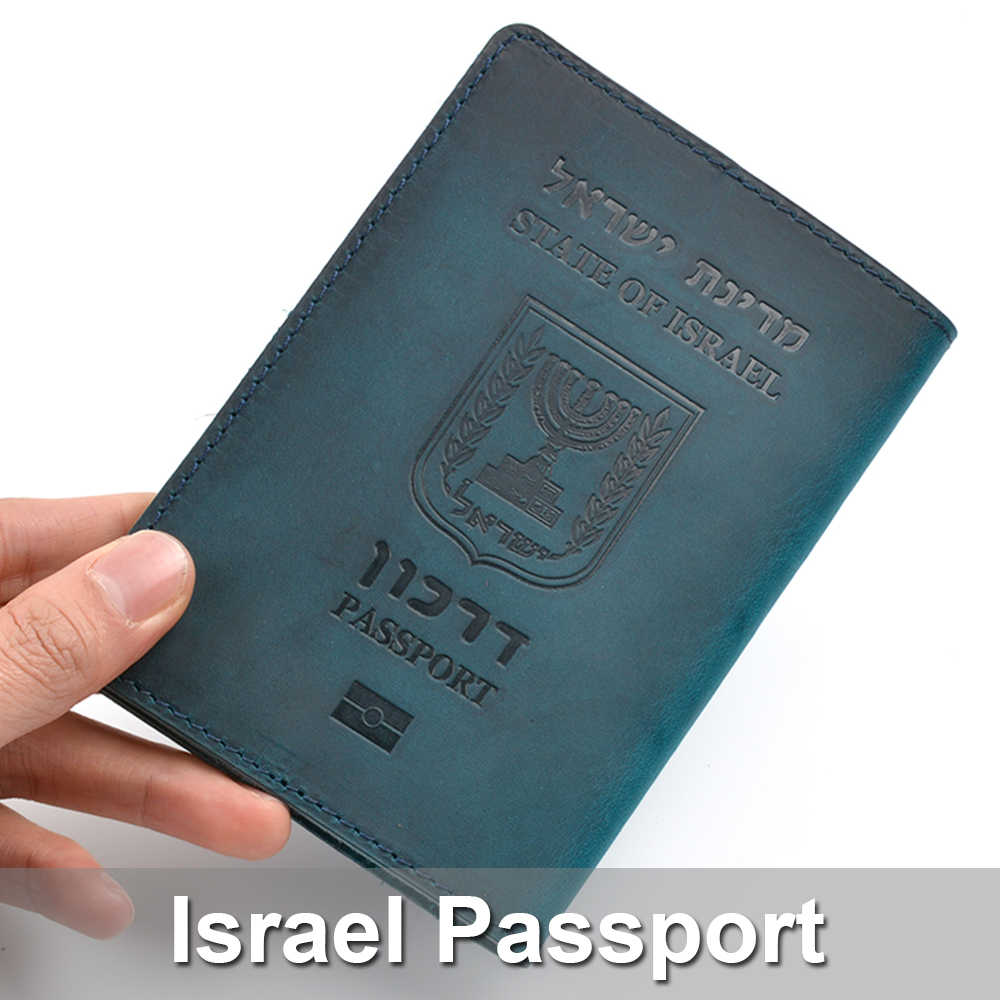 Genuine Leather Israeli Passport Cover For Israel Credit Card Holder Hebrew Passport Case Unisex Travel Wallet