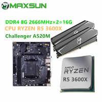 MAXSUN-placa base de escritorio Combo Challenger A520M Ram DDR4 8GBx2 2666MHz CPU RYZEN R5 3500X 3600 3600X, nueva pero sin enfriador