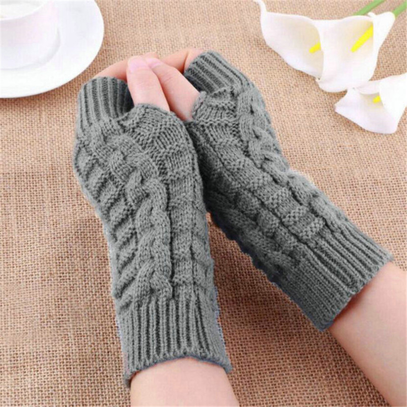 Autumn Winter Women Warmth Knitted Arm Fingerless Gloves Long Stretchy Mittens Men Women Winter Hand Arm Warm Gloves Gants Femme
