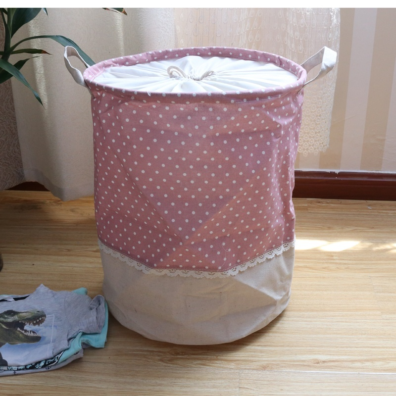 35by45cm FoldingOrganization Box Organization Canvas Laundry Clothes Basket Waterproof Storage Bucket Cute Pattern Organization