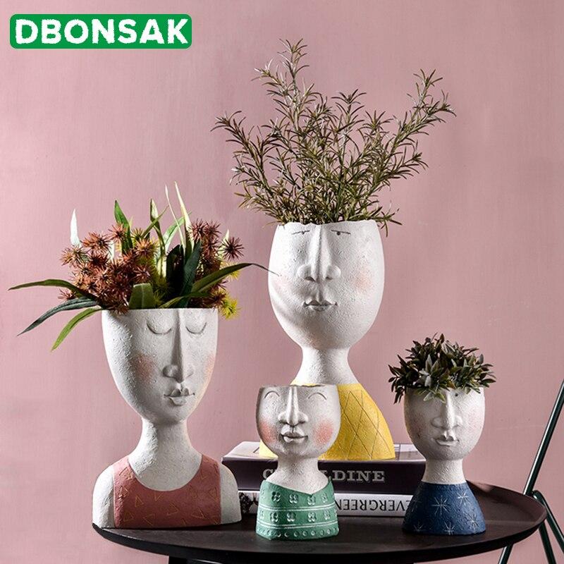 Художественный портрет цветочный горшок ваза скульптура Смола человеческое лицо семейный цветочный горшок ручной работы садовое хранение Цветочная композиция домашние декорации|Цветочные горшки и кадки|   | АлиЭкспресс - Горшок для суккулентов