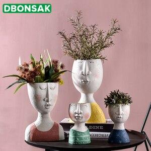 Art Portrait Flower Pot Vase Sculpture Resin Human Face Family Flower Pot Handmade Garden Storage Flower Arrangement Home Decors(China)