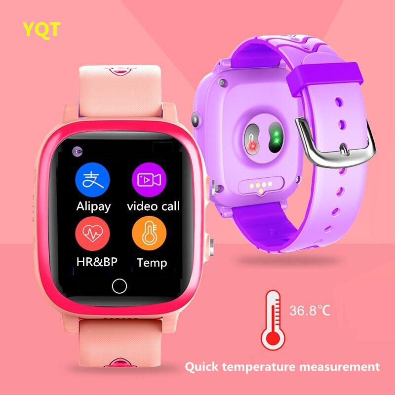 Детские умные часы 4G с поддержкой SIM-карты, GPS-трекером местоположения, датчиком температуры тела, пульсометром, видеозвонками, умные часы дл...