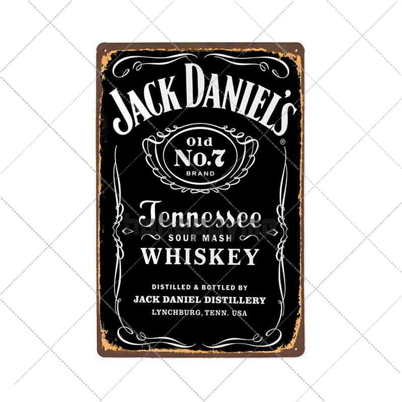 Whiskey Metal Tin Sign Jack Vintage Plaque Retro Pub Bar Pub Club Man Cave Decorative  Wall Plates Home Decor 20x30cm