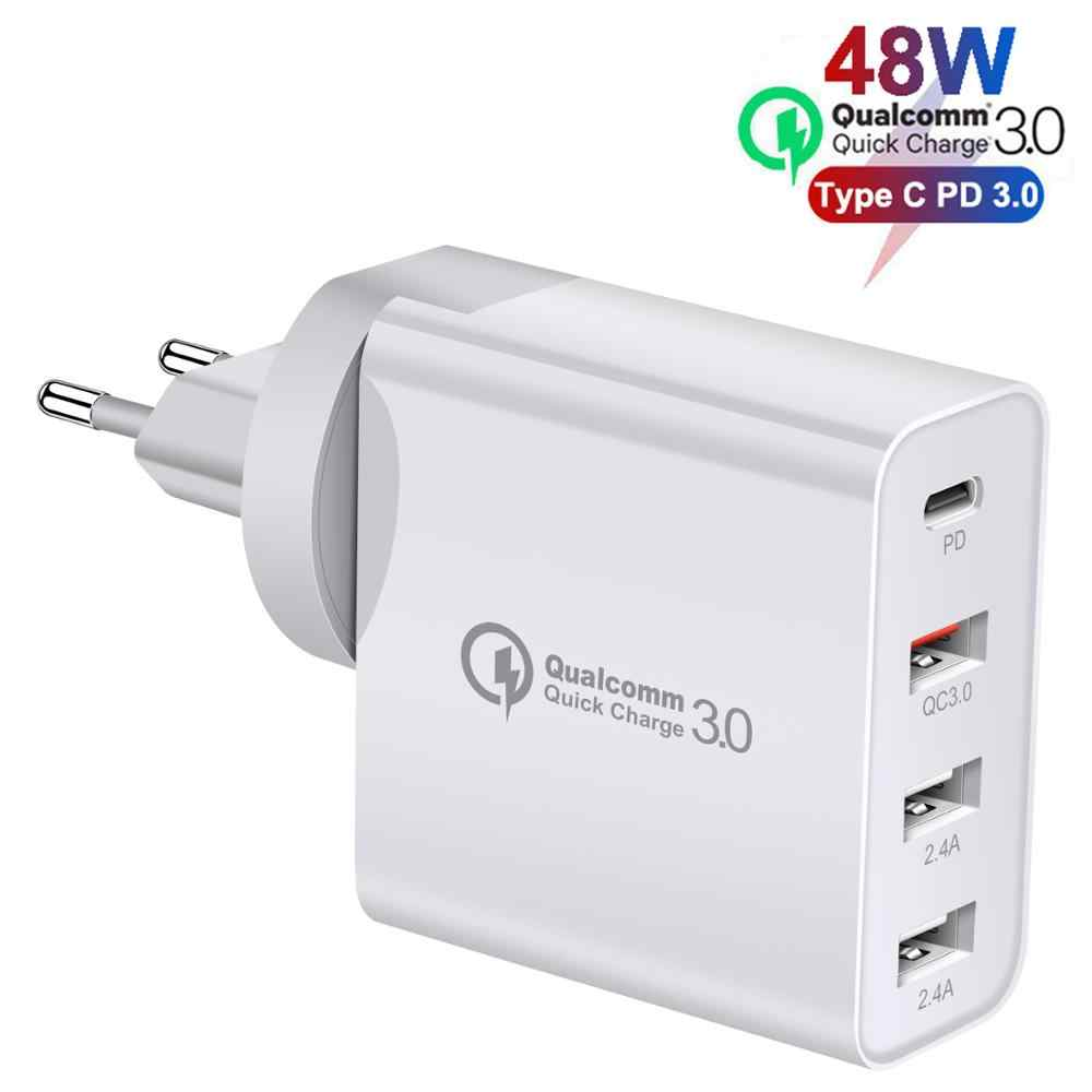 48W Quick Charger Type C Usb Pd Oplader Voor Samsung Iphone Xs Max Huawei Ipad Pro Qc 3.0 Snelle wall Charger Us Eu Plug Adapter