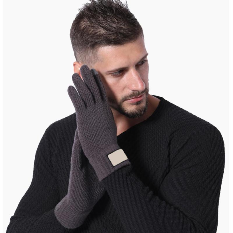 Autumn And Winter Men's Knitted Gloves Thickened Cashmere Solid Gloves Cycling Cold Warm Gloves Minutes Knitted Gloves