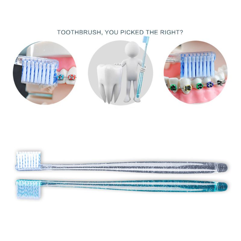 2Pcs/Set Adult Orthodontic Toothbrush U A Soft Trim Bristles Head for Braces Deep Cleaning Dental Teeth Whitening Oral Care image