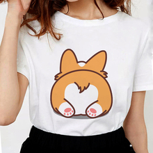 Lus Los Butt Funny Corgi t shirts Printed women Soft Cotton t shirts cute Tops graphic tees female white tshirt Popular