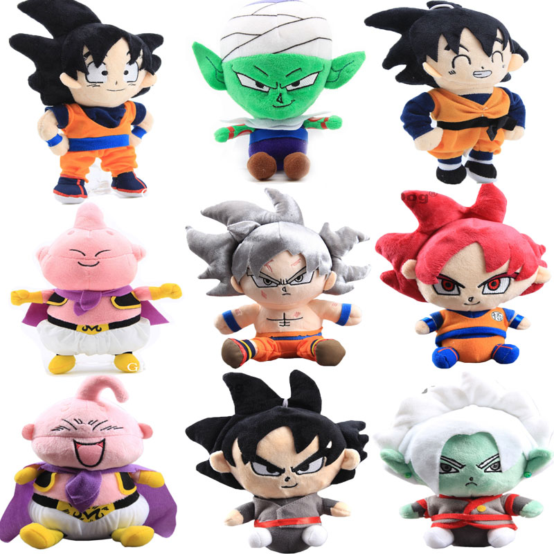 17 Styles 20-30cm Dragon Ball Goku Plush Toys Doll Dragon Ball Goku Kakarotto Majin Buu Piccolo Vegeta Super Saiyan Plush Doll