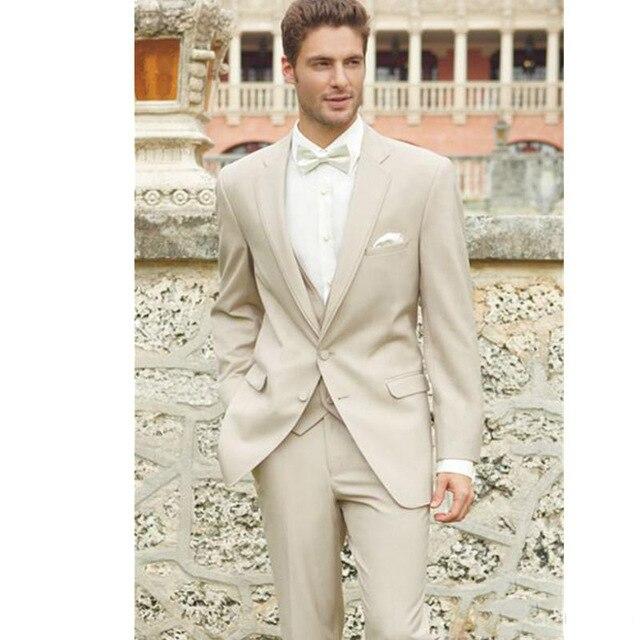 2020 Beach Linen Suits Custom Wedding Suits For Men Men Best Men Wear Groomsmen Man Suit Three Pieces Suit(Jacket+Pants+Vest)