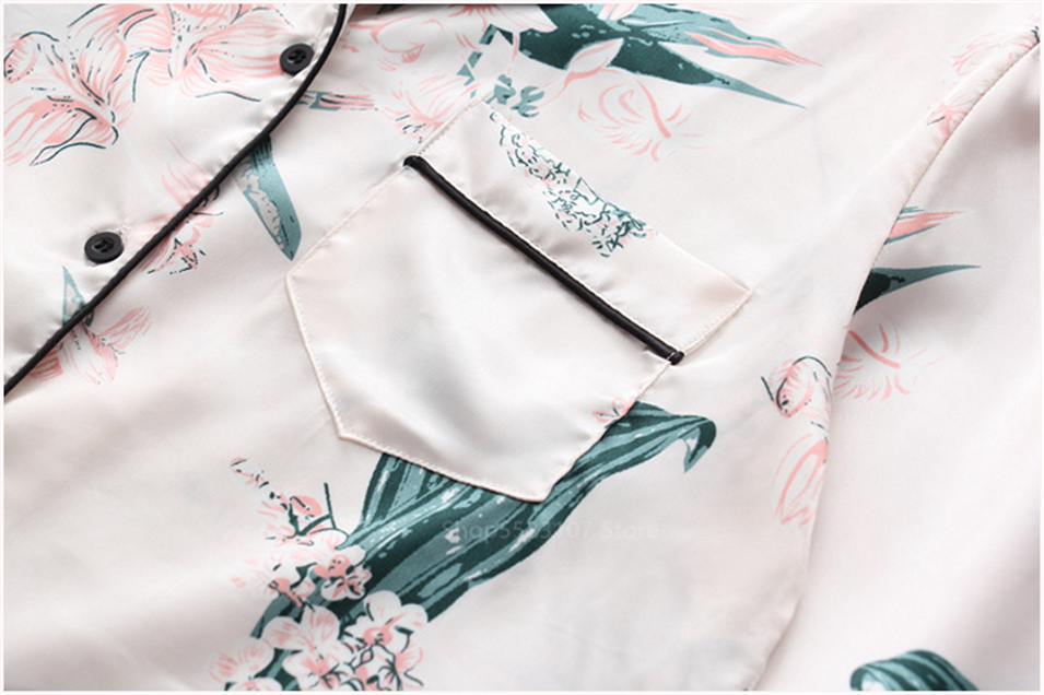 conjunto impressão cetim de seda pijamas grosso