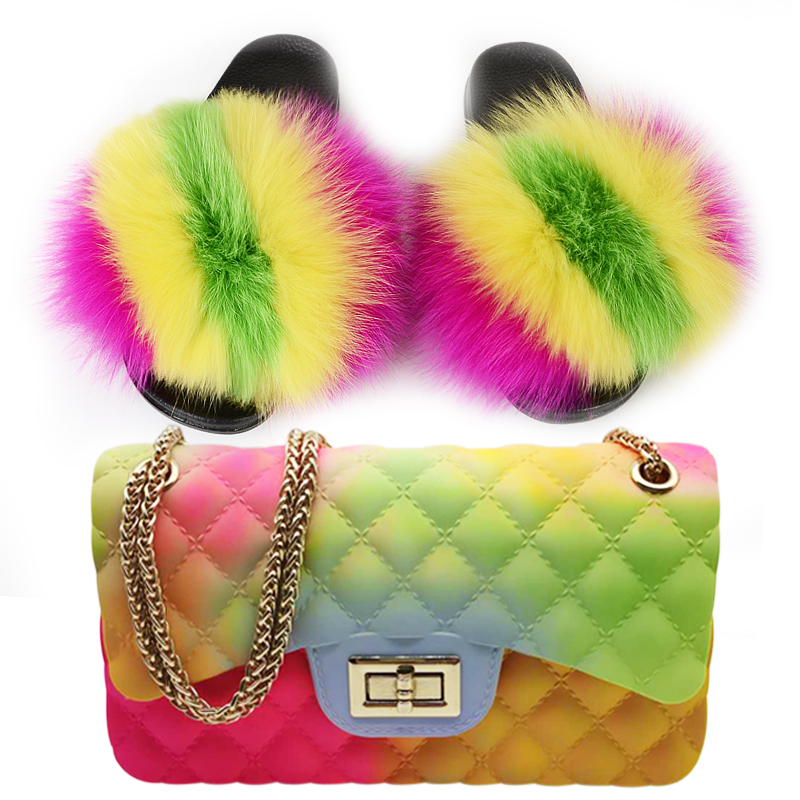 Fur Slides and Purse Set Women Fluffy Fur Slippers Colorful Jelly Bags Girl's Rainbow Fur Sandals Women Amazing Fur Shoes