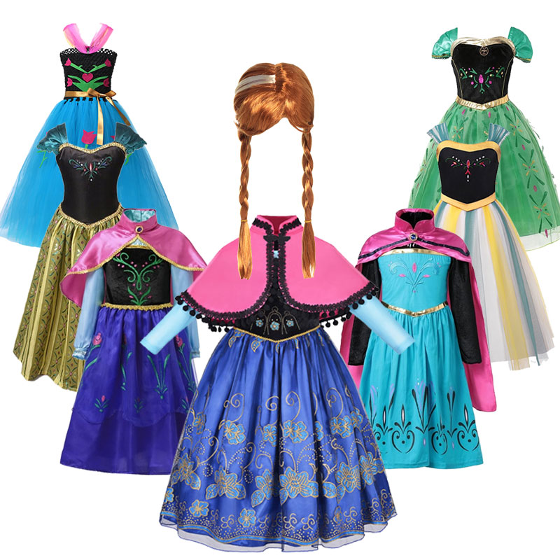Fancy Princess Dress Baby Girl Clothes Kids Halloween Party Cosplay Costume Children Frozen 2 Anna Dress Vestidos Infantil