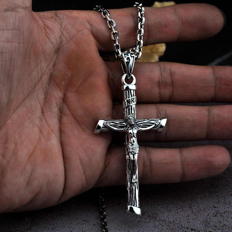 Gerçek 100% 925 ayar gümüş renk hıristiyan kolye kolye erkekler için moda takı haç İsa haç kolye zinciri yok
