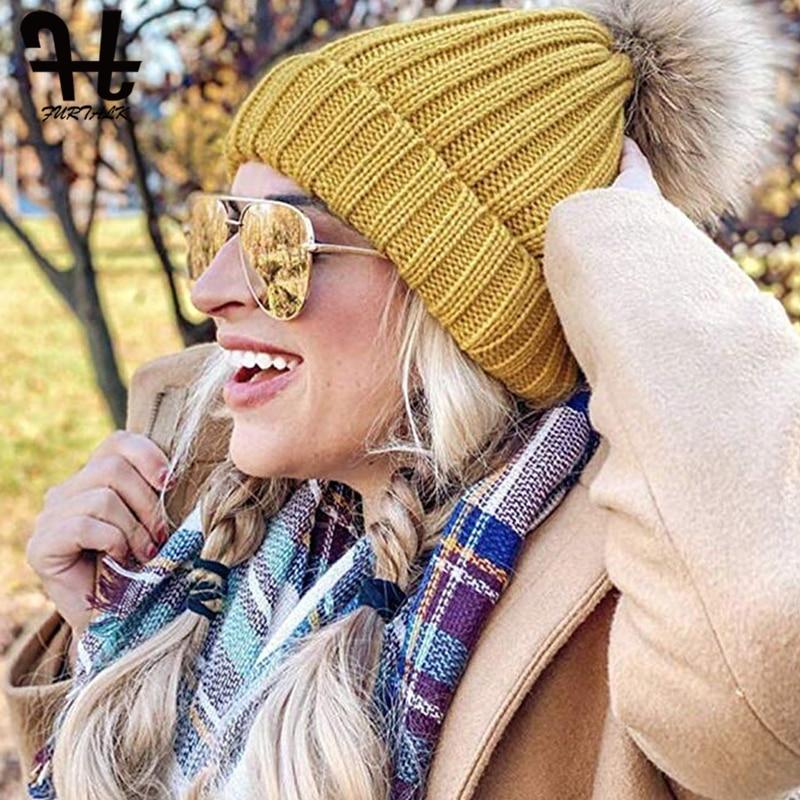Furtalk Knitted Real Fur Hat 100% Real Raccoon Fur Pompom Hat Winter Women Hat beanie for women 2019 Soft Warm Female Fur Cap 4