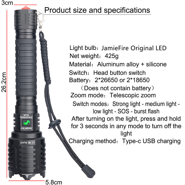 [ JamieFire LED]Flashlight Powerful Flash Light Brightest Lantern Zoomable USB Rechargeable Tactical Hunting Torch 100000 lumen 2