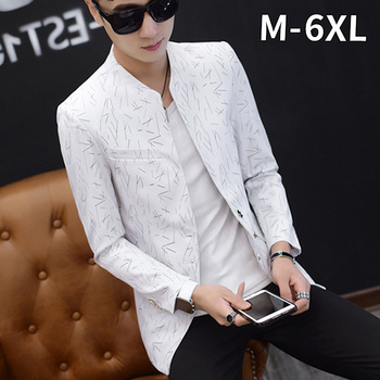 Casual Blazer Men Slim Fit Suits Printed White Design Plus Size Man Male Long Sleeve Suit Costume 6XL 5XL Printed Blazers фото