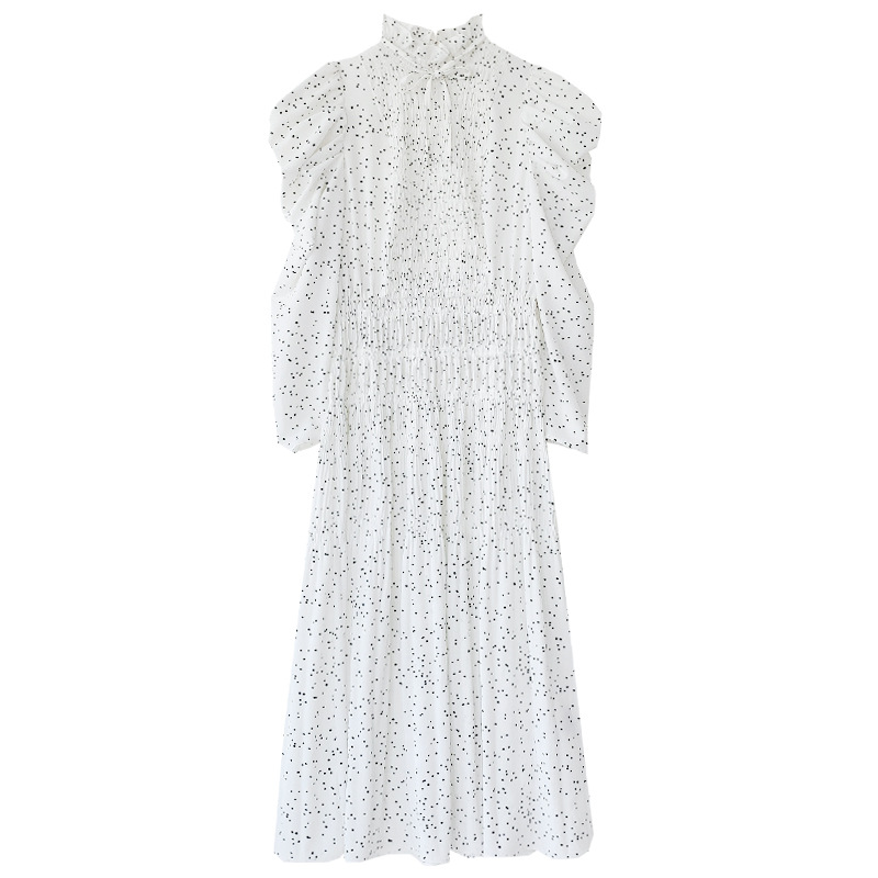 Kuzuwata Vintage Stand Collar Puff Sleeve Women Dress 2021 New Slim Waist Pleated Vestidos Mid Length Flower Print Dresses 7