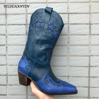 VIISENANTIN 2019 Retro Leather Lady Cowboy Boots Chunky Heel Color Match Embroidery Stars Decor Fashion Boot High end Quality