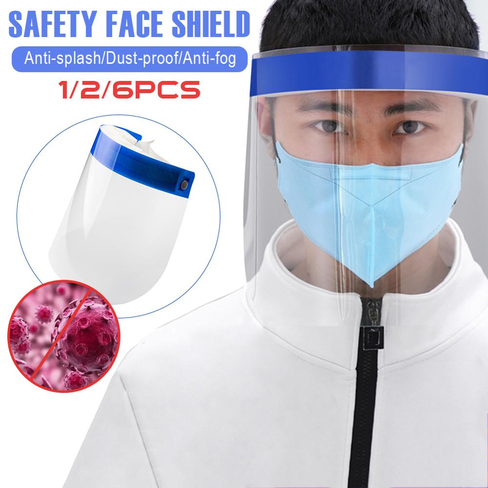 1/2/6Pcs Visor Shield High Quality Face Shield Washable Clear Anti Droplet Dust-proof Full Face Cover Mouth Mask Protective