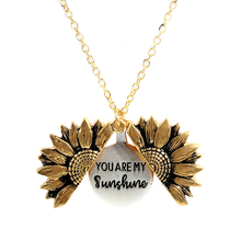 2019 New Women Open Locket Gold Necklace You are my sunshine Sunflower Pendant Fashionable Elegant
