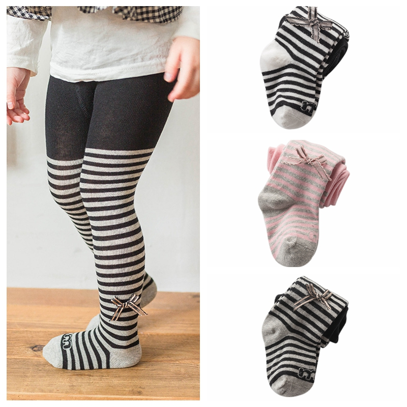 Autumn Kids Girls Pants Toddler Girls Bow Pantyhose Baby Girls Tights Striped Baby Girl Stocking For 0-4 Y