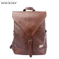 WEIXIER 2019 New Men Backpacks Teenagers Solid Casual Male PU Leather School Laptop Large Size Women Bags Mochila LQ 62
